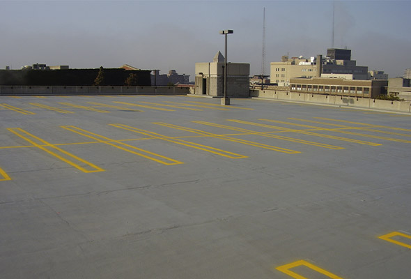 DC Byers can provide traffic coating (topping) for parking structures