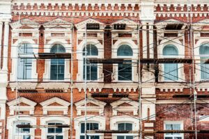Masonry restoration projects like the one showm can revitalize old buildings.